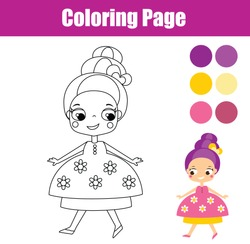 Children educational game. Coloring page with cute princess. Printable activity for toddlers and kids