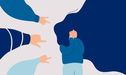 Children engage in bullying behavior towards a school girl. Depressed girl cries and covers her face with her hands. Female surrounded by the hands of her peers pointing at her. Human character vector