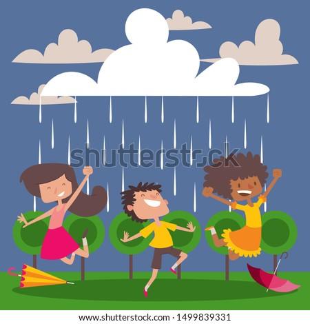 children enjoy the rain  vector
