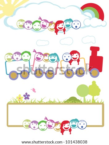 children face background for education, learning and activity - stock vector