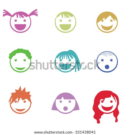 children face icons for mobile, web icons, children and others