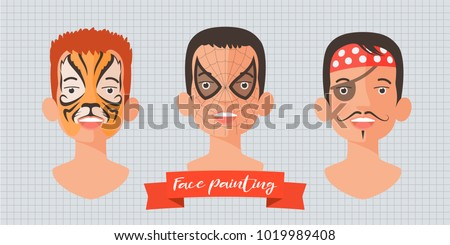 children face painting set of