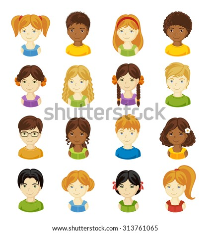 children face set vector
