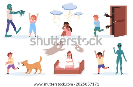 Children fears. Little kids phobias. Cartoon boys or girls with scared emotions and horror causes. Babies afraid of fictional monsters or zombies, ghosts and dogs. Vector frights set Foto stock ©