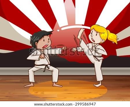 children fighting martial arts