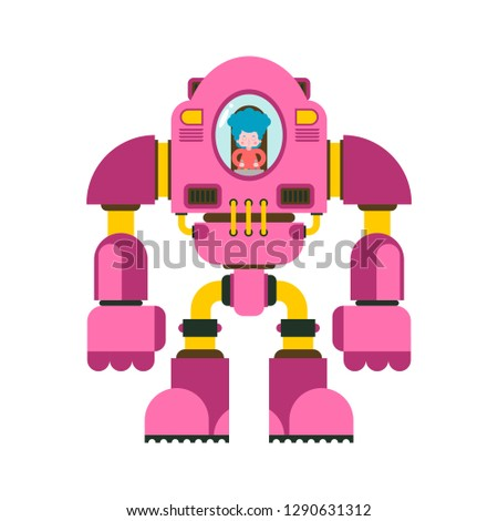 Children fighting robot. Little girl exoskeleton. mechanical technology robotic skeleton. Iron suit robot.  Metallic clothing cyborg. Vector illustration
