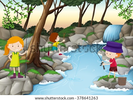 children fishing in the river