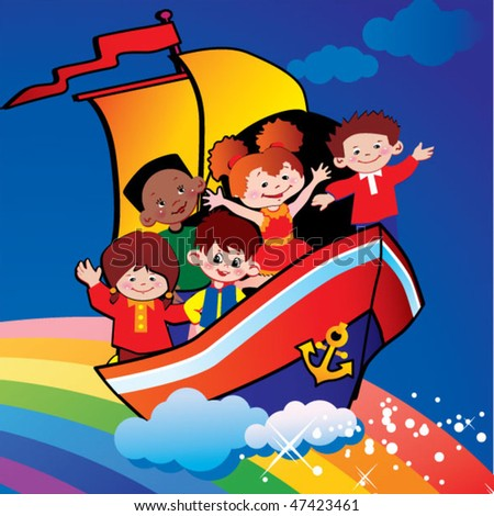 Children  floating  over the rainbow. Happy childhood. Vector art-illustration. - stock vector