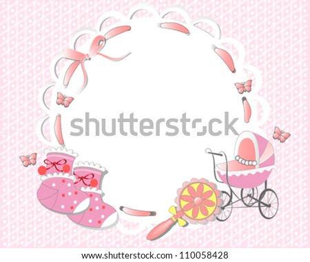 Children frame decorated with a pink ribbon, baby carriage, socks