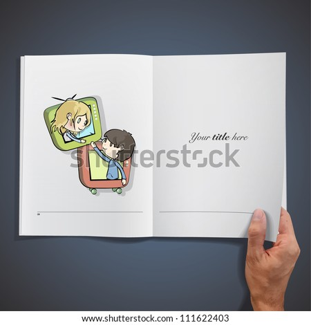 Children from an television. Realistic illustration of a magazine.