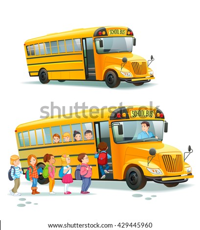 Children get on school bus.Transportation pupil or student, transport and automobile. Vector illustration