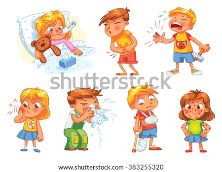 children get sick child has high temperature boy hit with hammer on finger - Cartoon Picture Of A Child