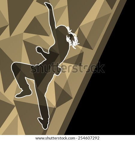 Children girl rock climber sport athlete climbing wall in abstract silhouette background illustration vector