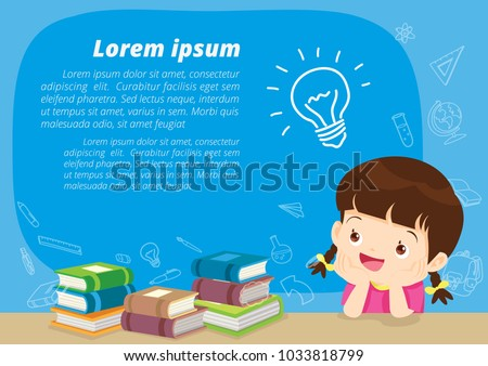 children girl thinking idea and books.Cute kid imagine in classroom with space for your text.education concept with  books background template.for web banner, backdrop, ad,promotion poster.