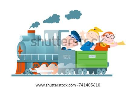 children go by train cartoon
