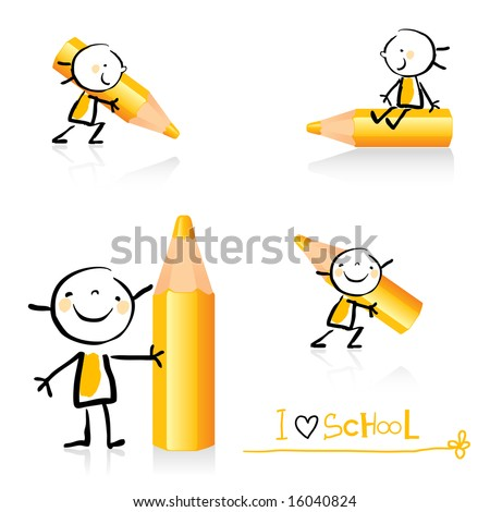 stock vector children hand drawing style educational icon set cute girl character series grouped and layered 16040824 Gays Boys Tube