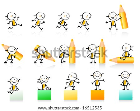 children hand drawing style educational icon set. Cute girl character series, grouped and layered for easy editing. See similar in my portfolio
