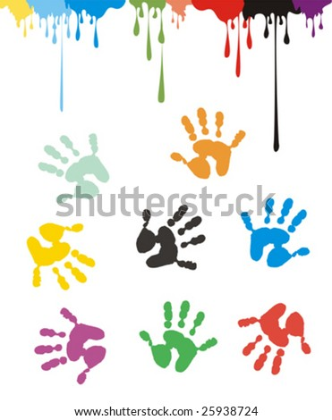 Children hand prints and ink drops on white background. No gradient fills. Easy to edit. - stock vector