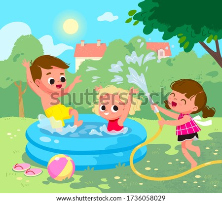 Children have fun at the backyard. Kids in a swimming pool. Children play outside.   Summer camp activities with water splashing. Summer background. House with backyard.