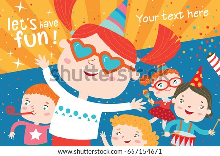 Children having fun at birthday party.