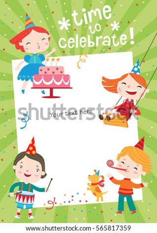 Children having fun at birthday party. Template for making birthday cards, posters, invitation cards, photo frames and backgrounds.