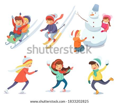 children having fun with snow