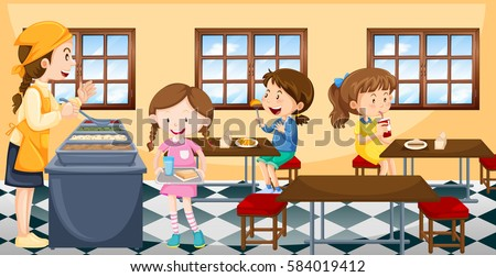 Children having lunch in canteen illustration
