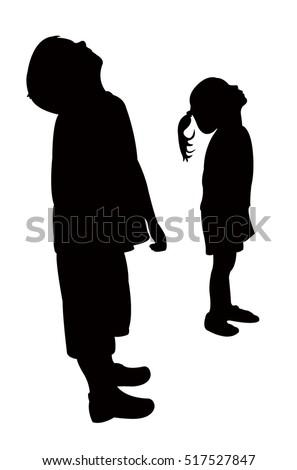 children head looking up, silhouette vector