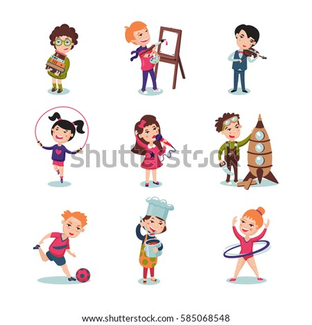 Children hobbies set with music painting sport cooking and designing interests isolated vector illustration