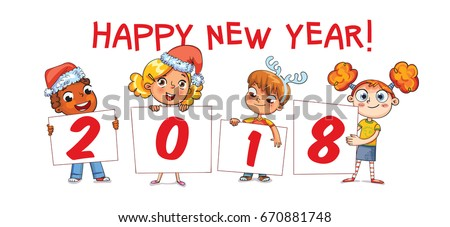 children holding a poster with the signature 2018 merry christmas and happy new year 2018
