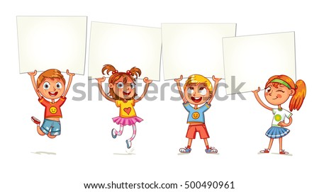 children holding empty blank