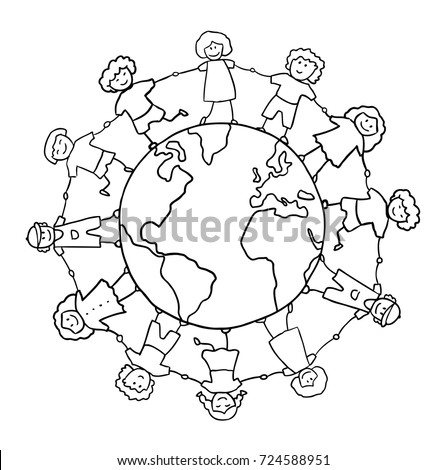children holding for hands around planet vector