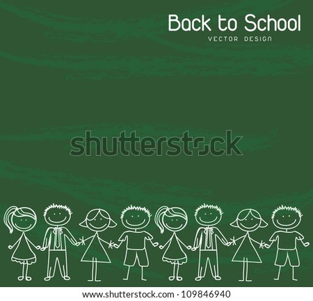 children holding hands over green background Back to school