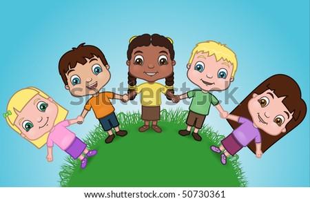 children holding hands vector. stock vector : Children