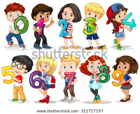 children holding number zero to