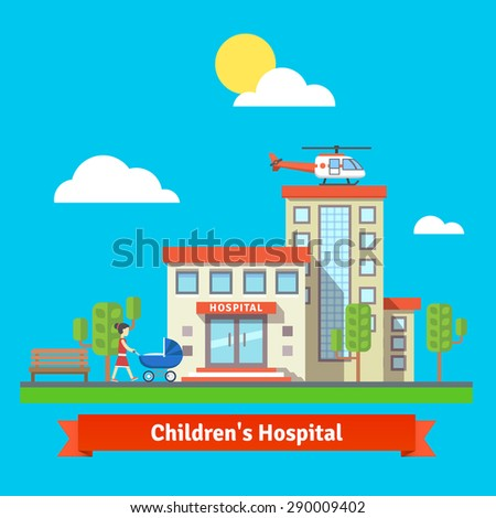 children hospital flat colorful