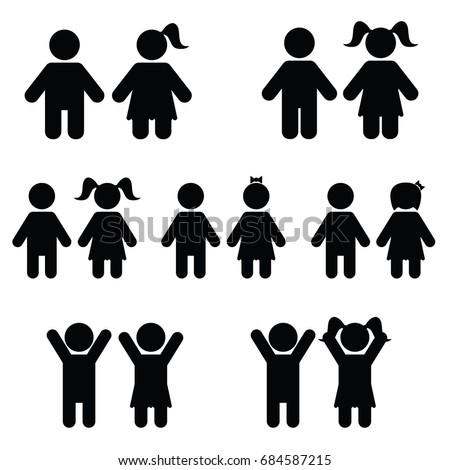 children icon set illustration on white color
