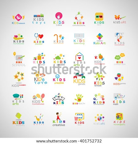 Children Icons Set-Isolated On Gray Background.Vector Illustration,Graphic Design.Kids Notebook,Book,Logo Bulb.Different Fun Logo Games, Playground.Logo Art. Logo Creativity