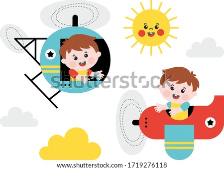 children illustration boys fly