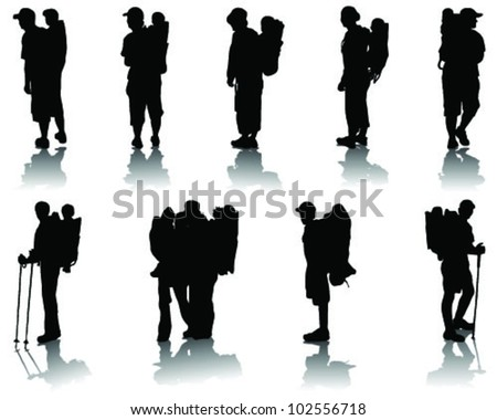Children in baby backpack, silhouettes with shadow-vector