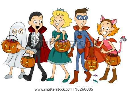 Children in Halloween Clothes - Vector