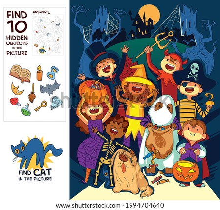 Children in halloween costumes. Trick or Treat. Find where Cat is hiding. Find 10 hidden objects in the picture. Puzzle Hidden Items. Funny cartoon character. Vector illustration
