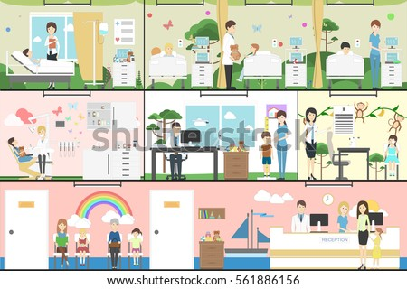 Children in hospital set. Pediatrician, reception, waiting room and ward. Kids with illness.