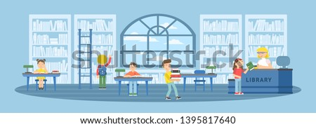 Children in library flat vector illustration. Bookshelves, tables with desk chairs. Schoolkids reading literature. Books, textbooks stacks, rows drawing. Classmates studying, learning in reading room