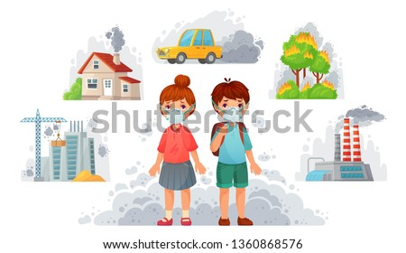 Children in N95 masks. Dirty environment protection, face mask protect from street smoke and PM2.5. Car dirty fog, factory fume or diseases facing masks. Cartoon vector illustration