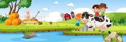 Children in nature farm horizontal landscape scene at day time illustration