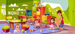 Children in nursery school cartoon vector. Baby boys playing toys, female teacher making pigtails to little girl in nursery age group of kindergarten illustration. Early childhood education concept