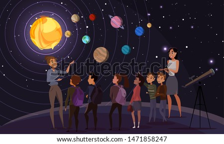 Children in observatory flat vector illustration. Teacher, classmates and tour guide cartoon characters. School trip to planetarium, kids on excursion. Astronomy lesson, solar system exploration