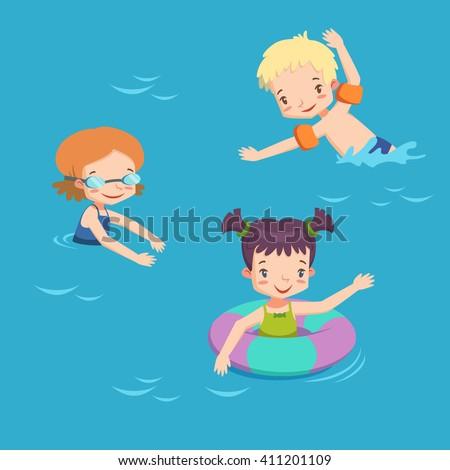 children in pool vector