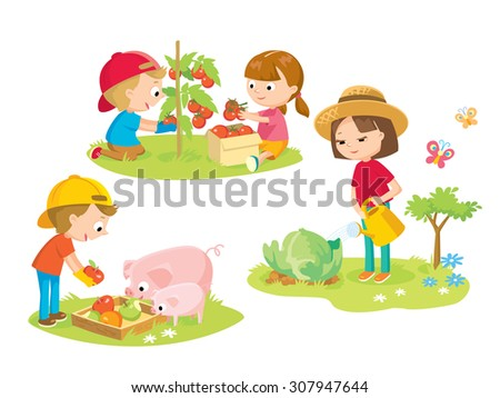 children in the farm